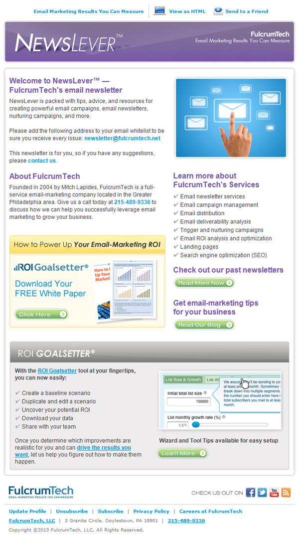 FulcrumTech NewsLever email