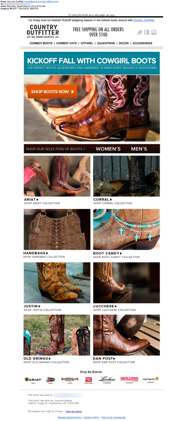 59909a9beb0 Country Outfitter email review: Does it make you want to kick up ...