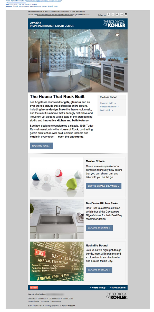 Kohler Email Review: This Email Newsletter Has Everything, Plus the ...