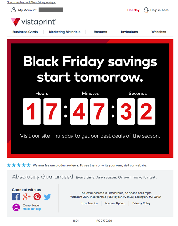 Vistaprint email review is this countdown to black friday a winner get the click vistaprint preview with images reheart Image collections