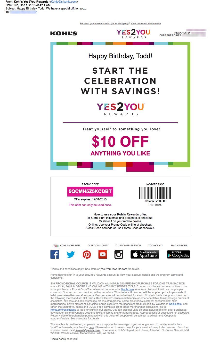 kohl's email review: is this birthday email something to celebrate